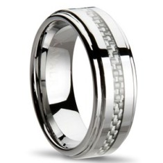 Carbon fibre silver weave ring