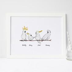 Personalised Cockatoo Family Print