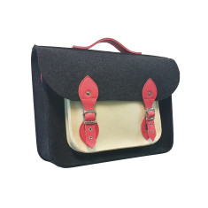 Dark grey felt messenger laptop bag with coral leather straps