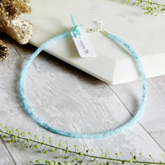 Dazzle Me - Skinny Crystal Aqua Blue Mesh Necklace