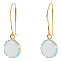 Tablet drop earrings with aqua chalcedony