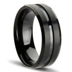 Gunmetal black tungsten ring