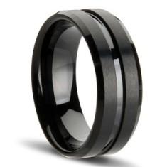 Gunmetal black tungsten ring