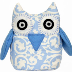 Owl toy in blue damask