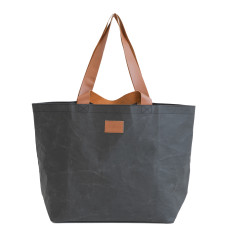 Washable Kraft Paper Shopper Tote Bag in Coal