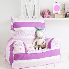 Pink stripy dot bean bag chair cover