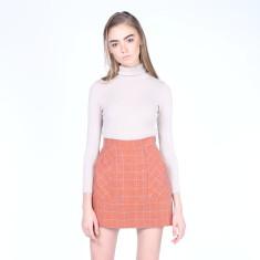 Kiss & Tell Mini Skirt In Tan Plaids