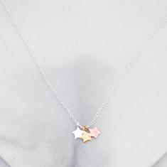 Kids' triple wish star necklace in sterling silver
