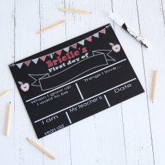 First Day of school - personalised blackboard reusable sign (apples)