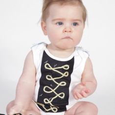 Pirate onesie (with seagulls & blue shoulder tabs)