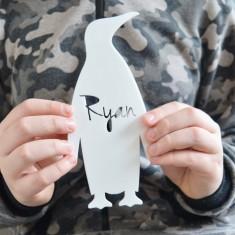 Monochrome Acrylic Personalised Kids' Penguin Bedroom Door Sign