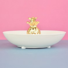 Pineapple Jewellery & Ring Dish - white & gold