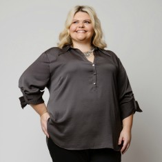 Plus size Crepe de Chine Technical Poly Blouse
