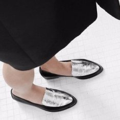 Persia Panelled Leather Loafers - Black and Silver