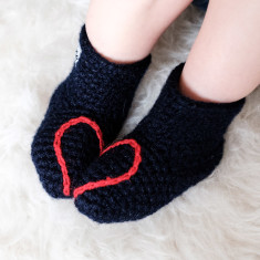 Handmade Baby Booties With Heart Design