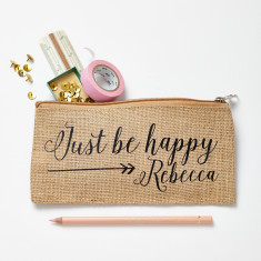 Personalised Jute Happy Pencil Case