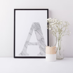 A3 Marble 'A' Typographic Print