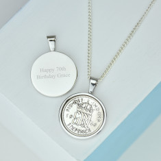 Sixpence 70th Birthday Coin Necklace