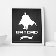 Bat Dad Personalised Wall Art Print