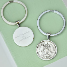 Sixpence 70th birthday coin key ring