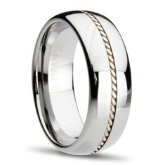 Tungsten Sterling Silver Inlay Ring