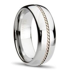 Tungsten Sterling Silver Inlay Ring