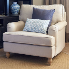 Linen roll arm chair