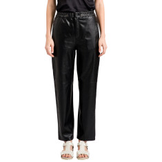 Black vegan leather elastic waist pants