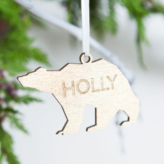 Personalised Gold Bear Christmas Decoration