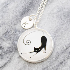 Personalised French cat necklace in silver