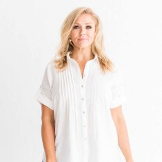 Ollie Cotton Pintuck Shirt in White