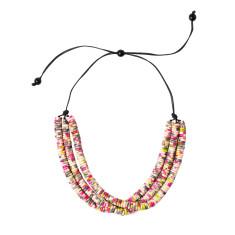 Sakura triple blossom necklace in pink & green