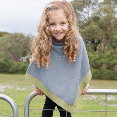 Little chicks poncho in grey with lemon trim