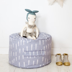 Grey Raindrops Ottoman Cover (BUY 1 GET 1 FREE)
