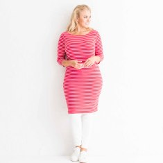 Red stripe cotton jersey dress