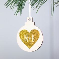 Personalised Heart Couple's Christmas Decoration
