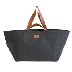 Washable Kraft Paper Beach Bag in Coal