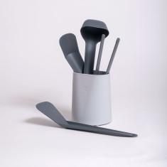 Kitchen Utensils Tool Set - Utensils and Holder in grey