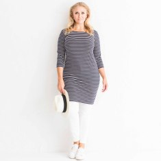 Black stripe cotton jersey dress
