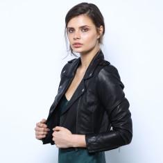 Olivia Cropped Biker Jacket