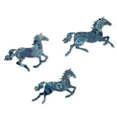 Set of three blue baroque galloping horses wall art