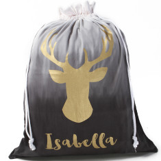 Personalised Ombre Deer Head Santa Sack