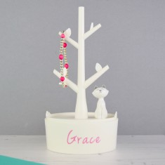 Personalised Modern White Cat Jewellery Box and Ring Holder