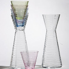 Sia Mai handblown glass karafe in rainbow web design
