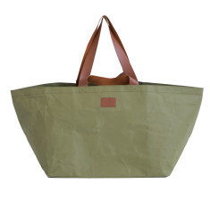 Washable Kraft Paper Beach Bag in Olive