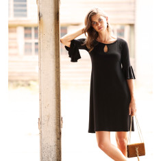Flute sleeve tunic dress in black