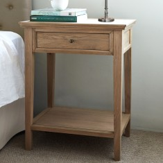 Oak one drawer and shelf bedside table