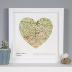 Home Is Where Mum Is Personalised Map Heart