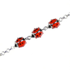 Mini children's ladybug bracelet in red