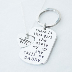 Daddy's girl necklace and key ring gift set